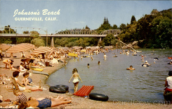 Postcard Image of Johnson's Beach Guerneville, CA circa 1960