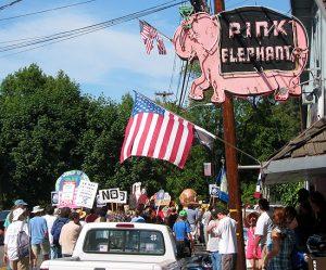 Image of Monte Rio-pink & protestors